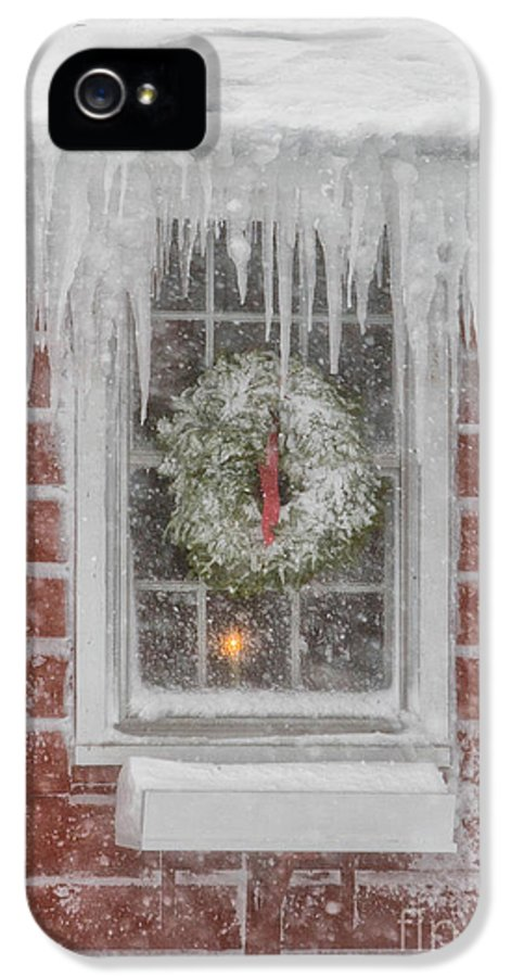 Business Exteriors IPhone 5 Case featuring the photograph Holiday Wreath In Window With Icicles During Blizzard Of 2005 On by Matt Suess
