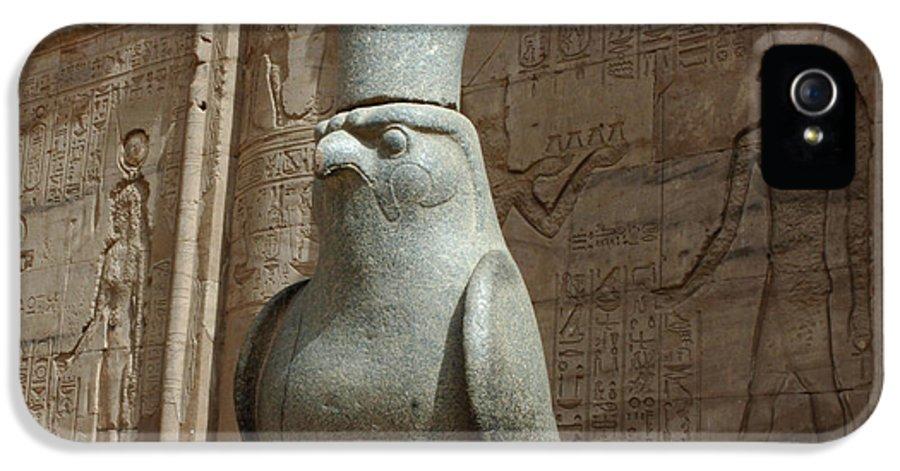 Falcon IPhone 5 Case featuring the photograph Horus The Falcon At Edfu by Bob Christopher