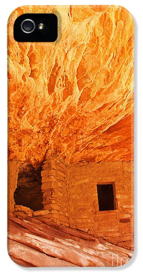 Ruin IPhone 5 Case featuring the photograph House On Fire Portrait 1 by Bob and Nancy Kendrick