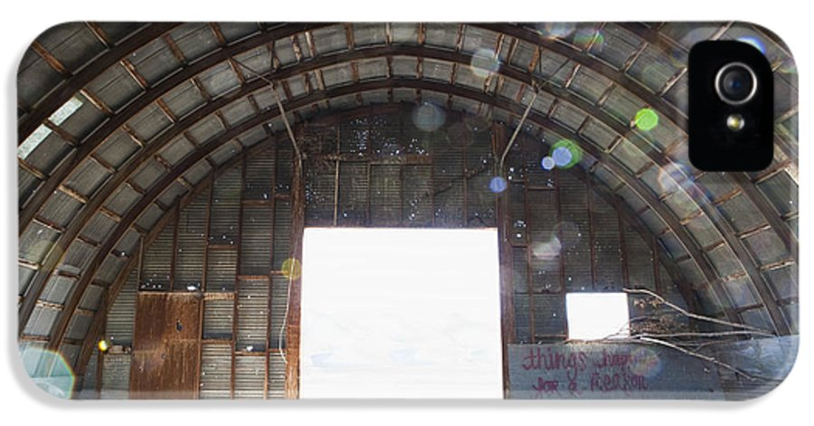 Day IPhone 5 Case featuring the photograph Interior Of Abandoned Farm Equipment Shed by Paul Edmondson
