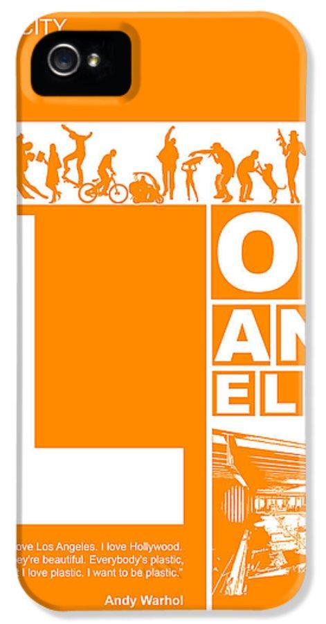Los Angeles IPhone 5 Case featuring the digital art La Orange Poster by Naxart Studio