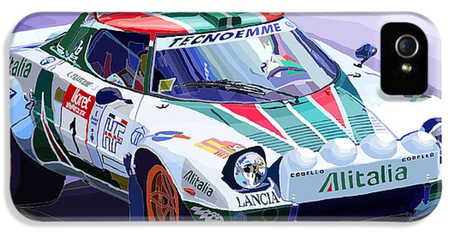 Automotive IPhone 5 Case featuring the digital art Lancia Stratos Alitalia Rally Catalonya Costa Brava 2008 by Yuriy Shevchuk