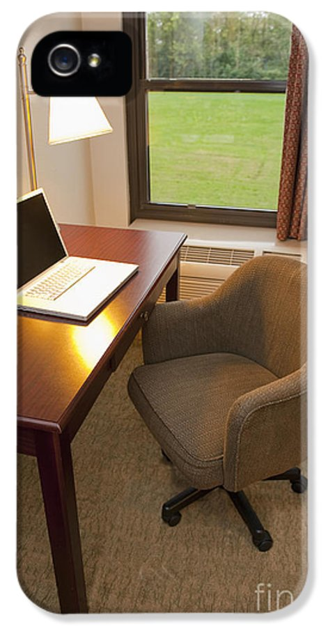 Business Trip IPhone 5 Case featuring the photograph Laptop On A Hotel Room Desk by Thom Gourley/Flatbread Images, LLC