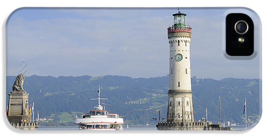 Lindau IPhone 5 Case featuring the photograph Lindau Harbor With Ship Bavaria Germany by Matthias Hauser
