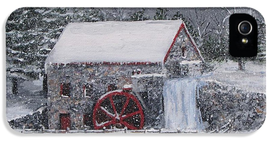 Sudbury Ma IPhone 5 Case featuring the painting Longfellow's Grist Mill In Winter by Jack Skinner