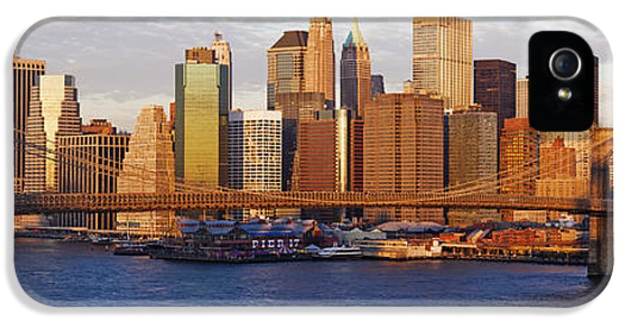 Architecture IPhone 5 Case featuring the photograph Lower Manhattan And The Brooklyn Bridge by Jeremy Woodhouse