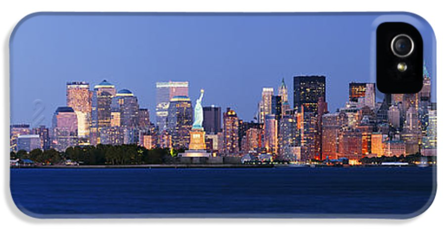 Architecture IPhone 5 Case featuring the photograph Lower Manhattan Skyline At Dusk by Jeremy Woodhouse