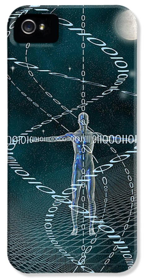 Binary Code IPhone 5 Case featuring the digital art Man And Cyberspace by Carol and Mike Werner