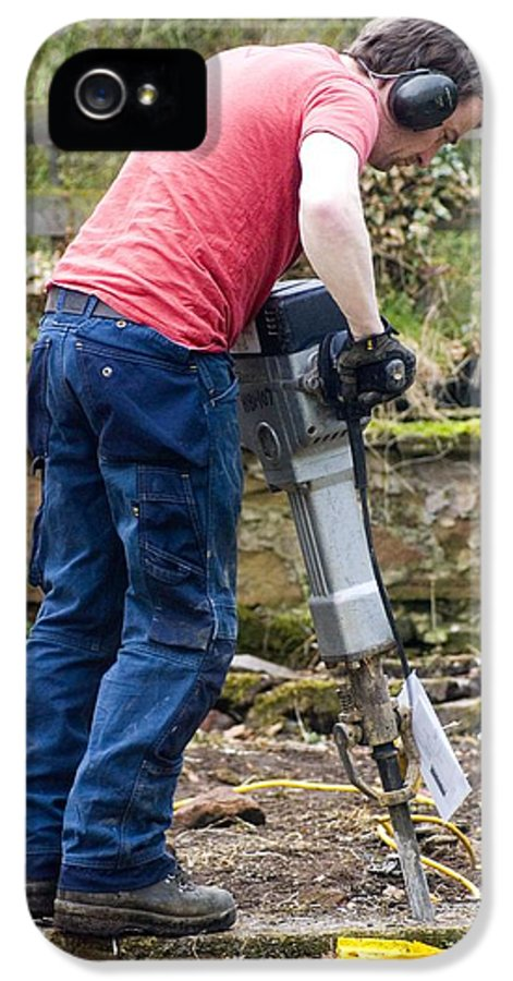 Breaking Concrete IPhone 5 Case featuring the photograph Man Breaking Concrete With A Jack Hammer. by Mark Williamson