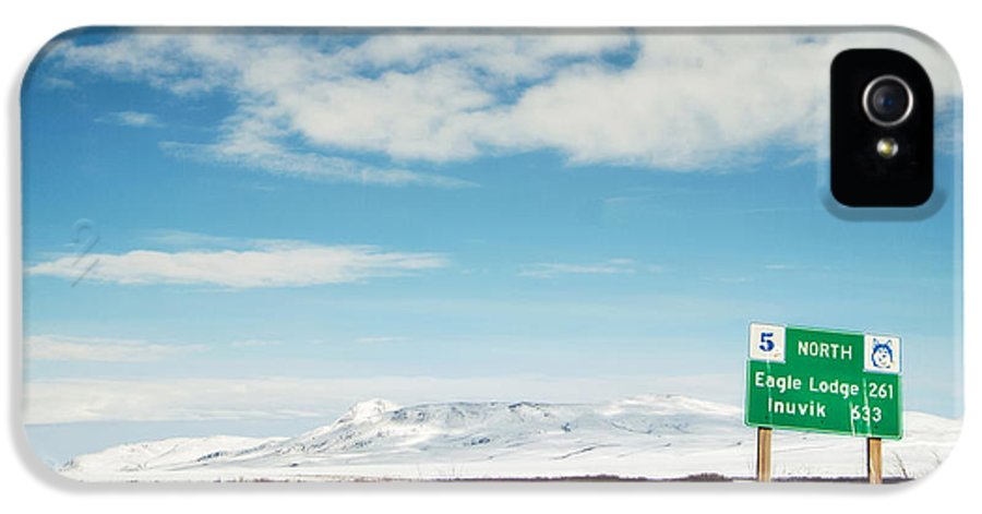 Territories IPhone 5 Case featuring the photograph Milepost At The Dempster Highway by Priska Wettstein