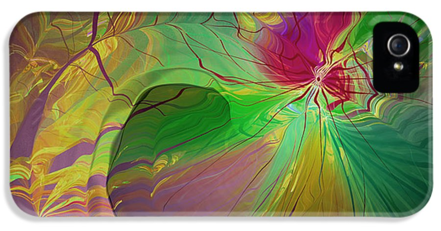 Abstract IPhone 5 Case featuring the digital art Multi Colored Rainbow by Deborah Benoit
