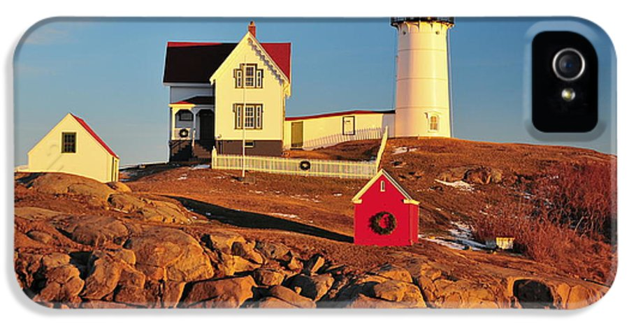 Cape Neddick Lighthouse IPhone 5 Case featuring the photograph Nubble Light Sunset by Catherine Reusch Daley