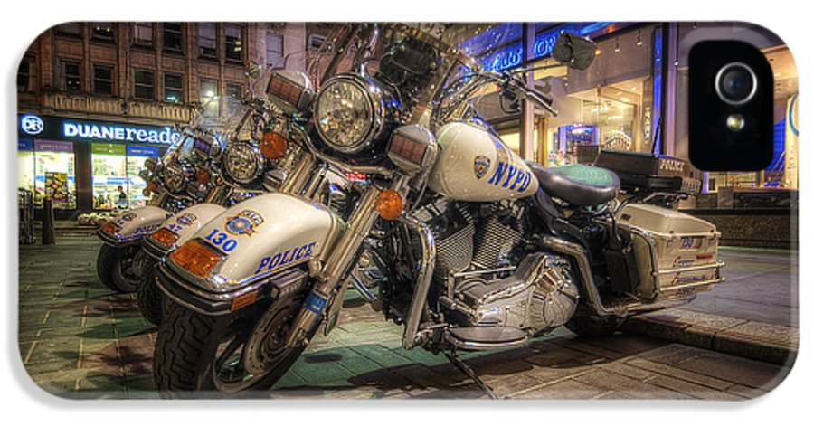 Art IPhone 5 Case featuring the photograph Nypd Bikes by Yhun Suarez
