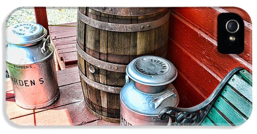 Rain Barrel IPhone 5 Case featuring the photograph Old Milk Cans And Rain Barrel. by Paul Ward