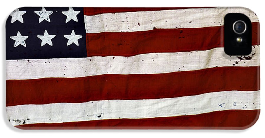 4th IPhone 5 / 5s Case featuring the photograph Old Usa Flag by Carlos Caetano