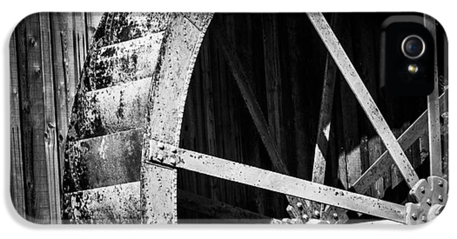 Black And White IPhone 5 Case featuring the photograph Old West Water Mill 2 by Darcy Michaelchuk
