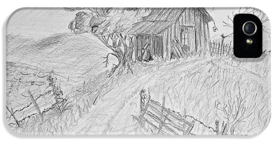Nature IPhone 5 Case featuring the drawing Old Woodshed II by Debbie Portwood
