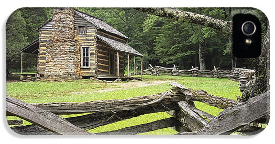 Great Smoky Mountains IPhone 5 Case featuring the photograph Oliver Cabin In Cade's Cove by Randall Nyhof