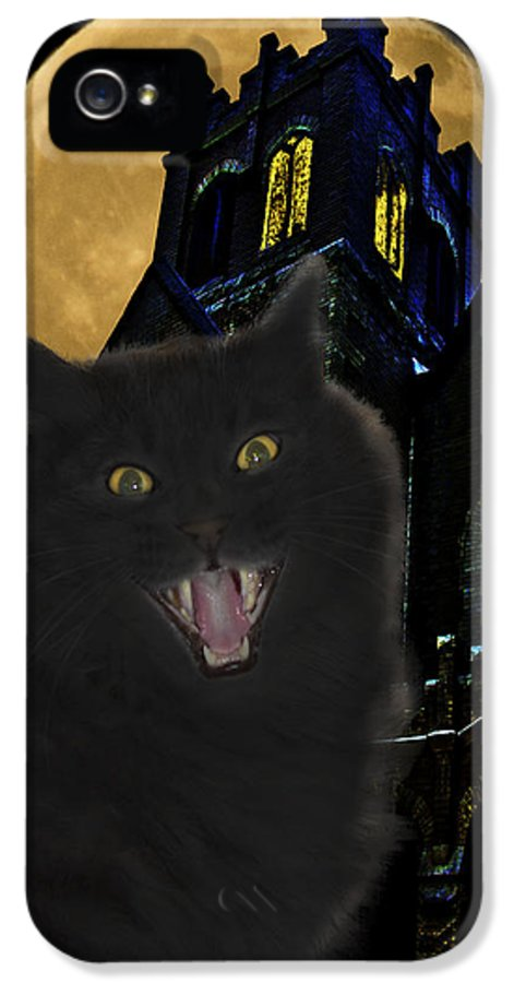 Black Cat IPhone 5 Case featuring the photograph One Dark Halloween Night by Shane Bechler