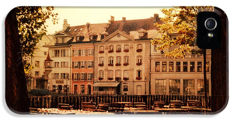 Lucerne IPhone 5 Case featuring the photograph Outdoor Cafe In Lucerne Switzerland by Susanne Van Hulst