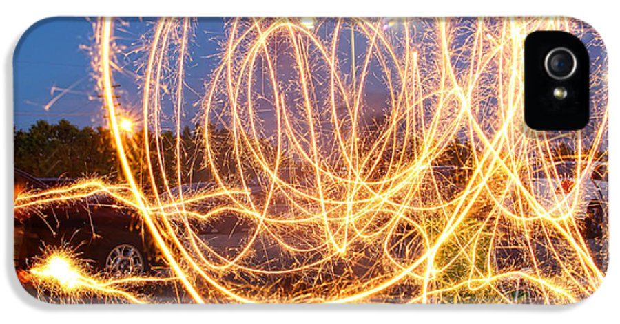 Fire IPhone 5 Case featuring the photograph Painting With Sparklers by Gordon Dean II