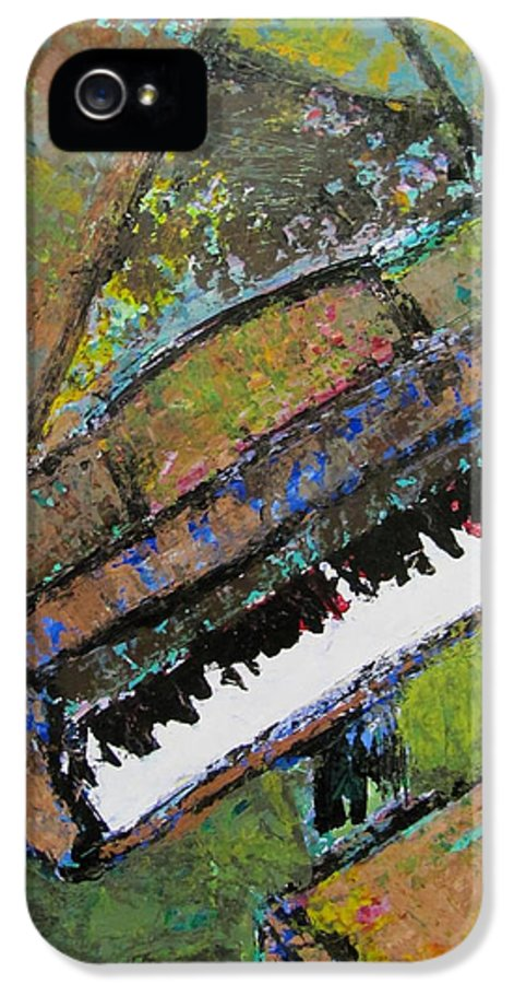 Music IPhone 5 Case featuring the painting Piano Aqua Wall - Cropped by Anita Burgermeister