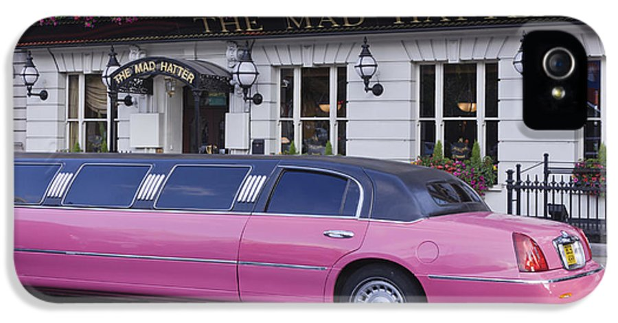 Bar IPhone 5 Case featuring the photograph Pink Limo Outside A Pub by Jeremy Woodhouse