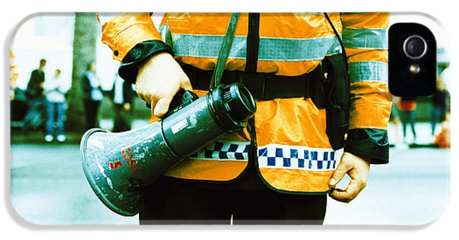 Megaphone IPhone 5 Case featuring the photograph Police Officer by Kevin Curtis
