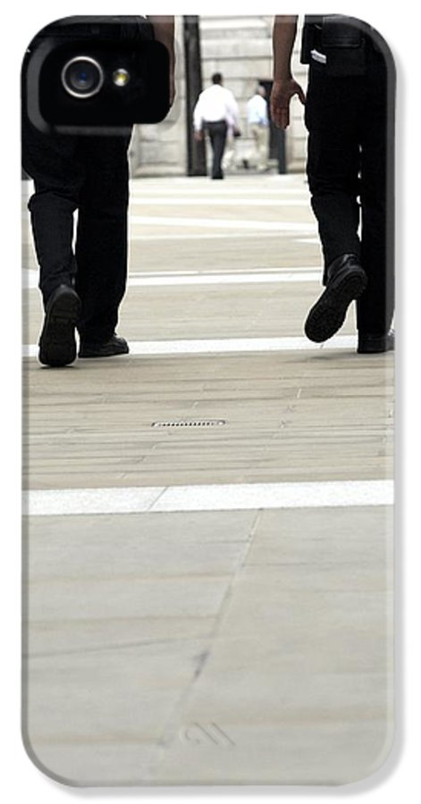 Human IPhone 5 Case featuring the photograph Police Officers Patrolling by Tony Mcconnell