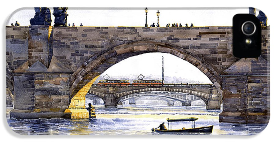 Watercolor IPhone 5 Case featuring the painting Prague Bridges by Yuriy Shevchuk