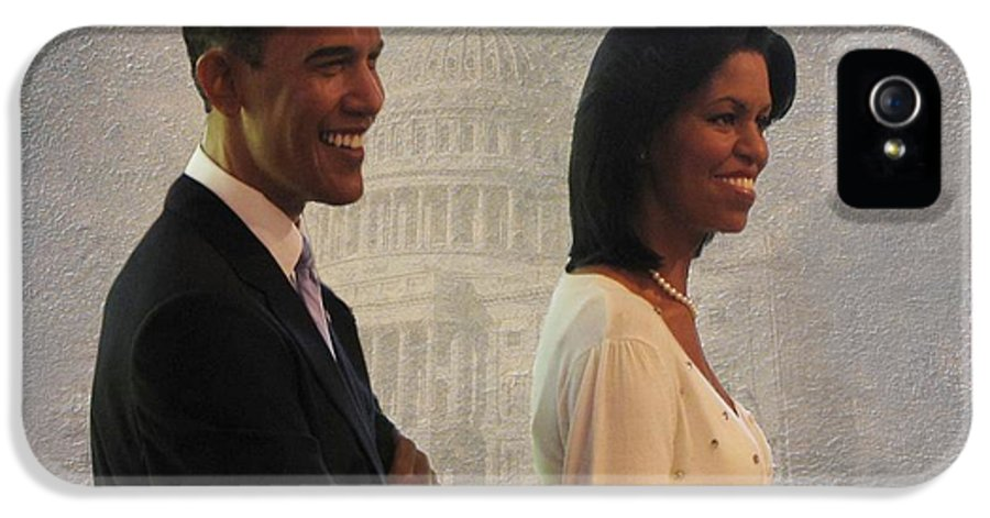 President Obama IPhone 5 Case featuring the photograph President Obama And First Lady by David Dehner