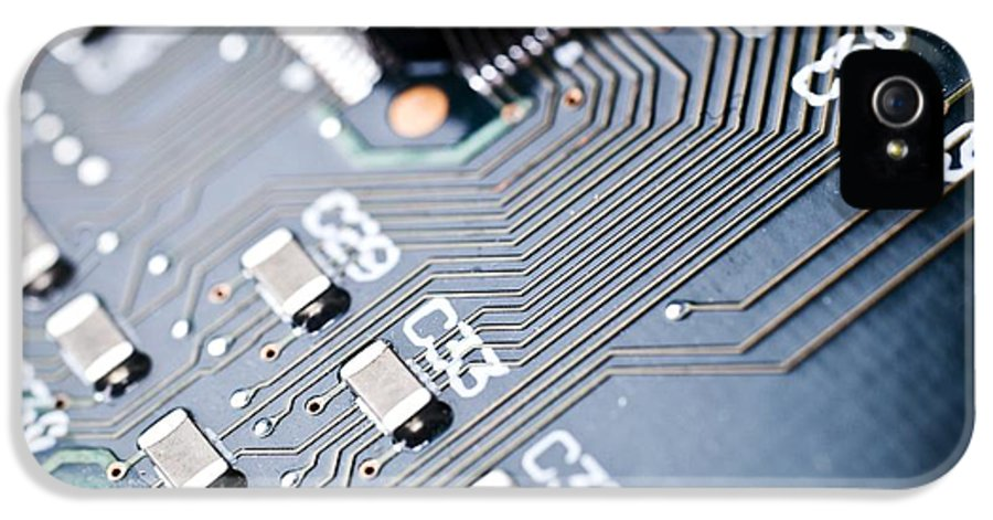 Circuit Board IPhone 5 Case featuring the photograph Printed Circuit Board Components by Arno Massee