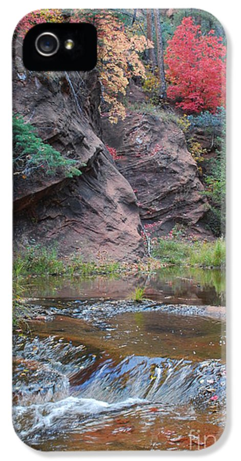 Sedona IPhone 5 Case featuring the photograph Rainbow Of The Season And River Over Rocks by Heather Kirk