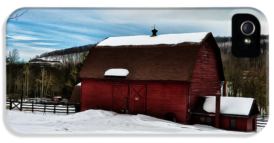 Red Barn In The Snow IPhone 5 Case featuring the photograph Red Barn In The Snow by Bill Cannon
