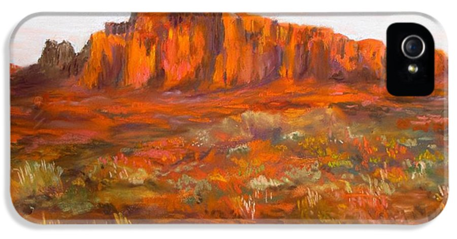Red Cliffs IPhone 5 Case featuring the painting Red Cliffs by Jack Skinner