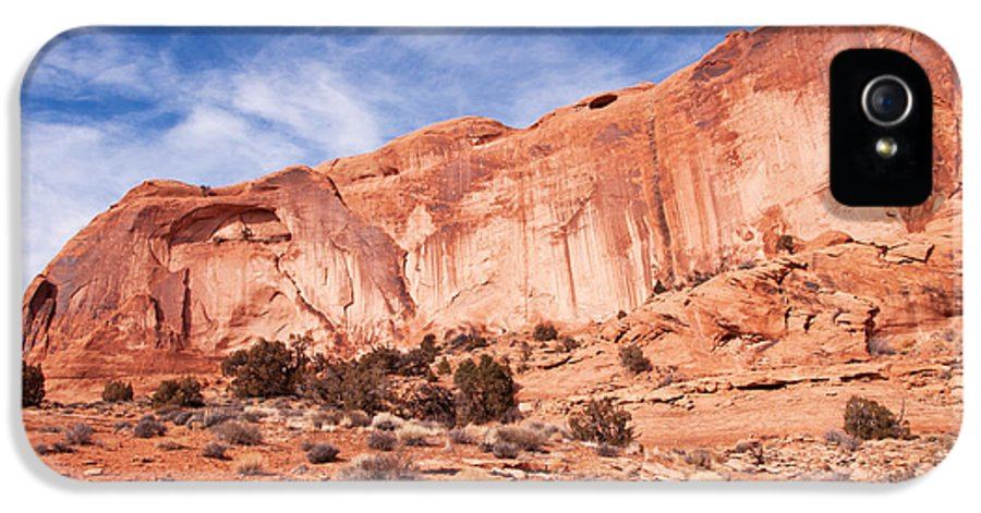 Red Rock IPhone 5 Case featuring the photograph Red Rock And Blue Skies by Bob and Nancy Kendrick