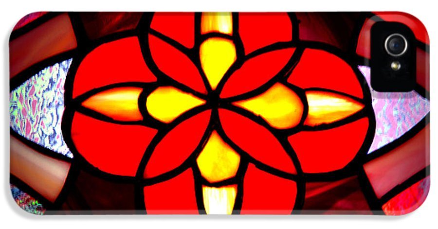 Stained Glass Window IPhone 5 Case featuring the photograph Red Stained Glass by LeeAnn McLaneGoetz McLaneGoetzStudioLLCcom