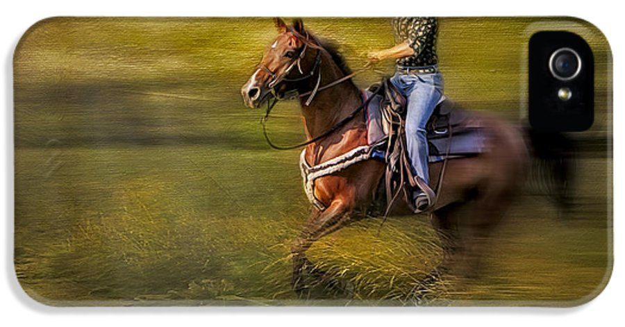 Horse IPhone 5 / 5s Case featuring the photograph Riding Thru The Meadow by Susan Candelario