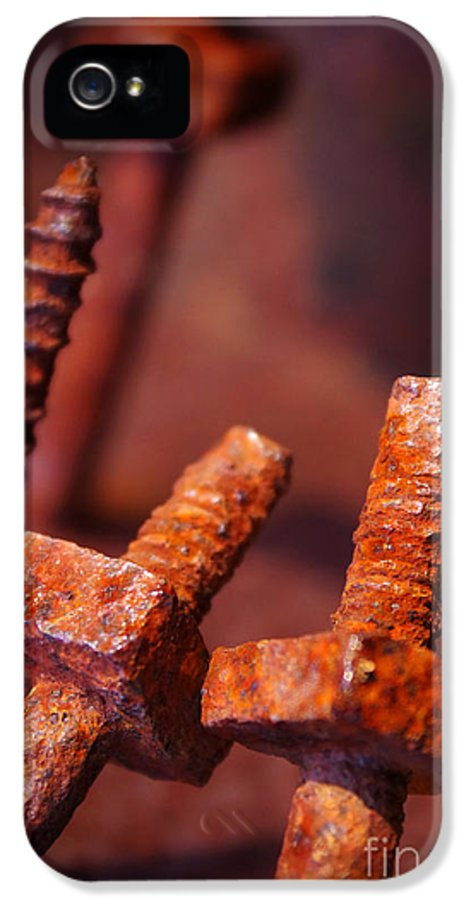 Bolt IPhone 5 Case featuring the photograph Rusty Screws by Carlos Caetano