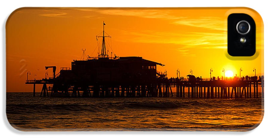 America IPhone 5 Case featuring the photograph Santa Monica Pier Sunset by Paul Velgos