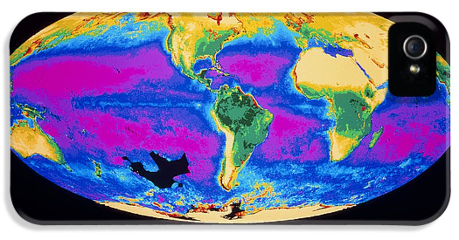 Phytoplankton Distribution IPhone 5 Case featuring the photograph Satellite Image Of The Earth's Biosphere by Dr Gene Feldman, Nasa Gsfc