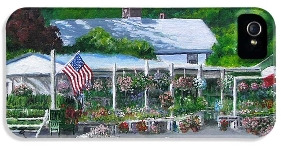 Farm Stand IPhone 5 Case featuring the painting Scimone's Farm Stand by Jack Skinner