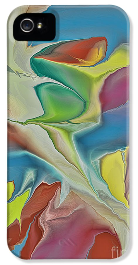 Abstract IPhone 5 Case featuring the digital art Sharks In Life by Deborah Benoit