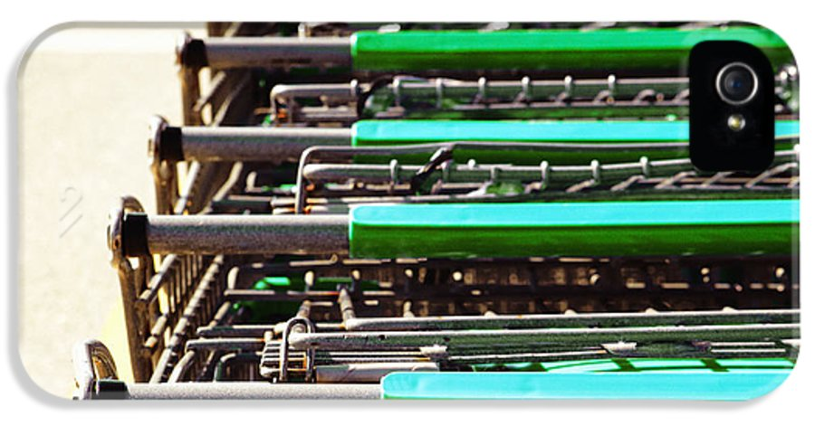 Business IPhone 5 Case featuring the photograph Shopping Carts Stacked Together by Skip Nall