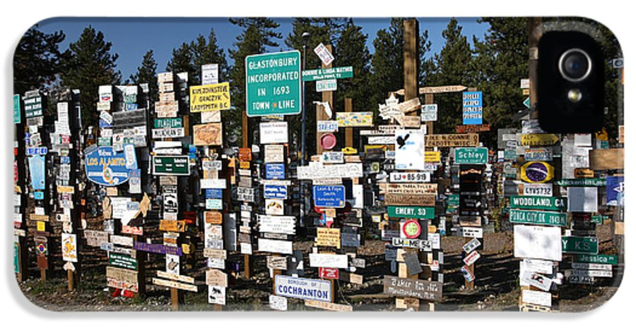 Signs IPhone 5 Case featuring the digital art Sign Posts Forest In Watson Lake Yukon by Mark Duffy