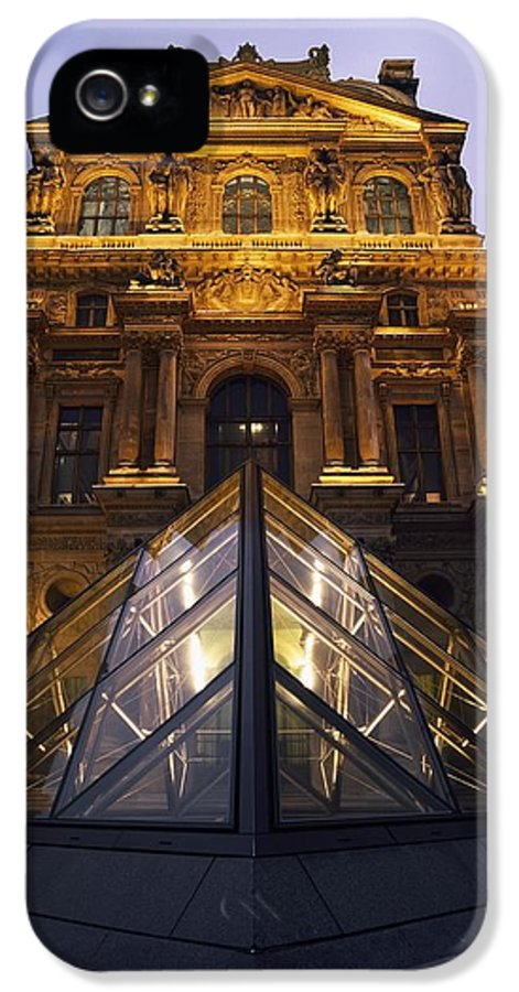 Built Structure IPhone 5 Case featuring the photograph Small Glass Pyramid Outside The Louvre by Axiom Photographic