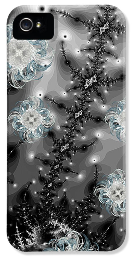 Snow IPhone 5 Case featuring the digital art Snowy Night II Fractal by Betsy Knapp