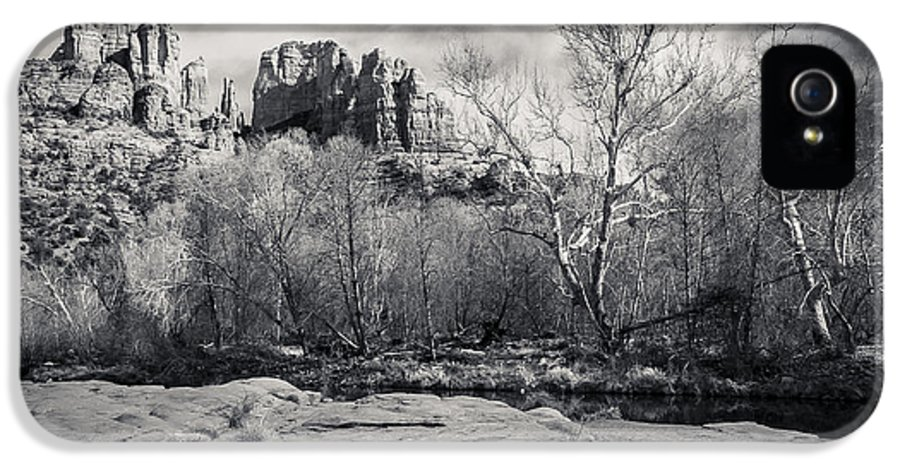 Black And White IPhone 5 Case featuring the photograph Spooky Castle Rock by Darcy Michaelchuk