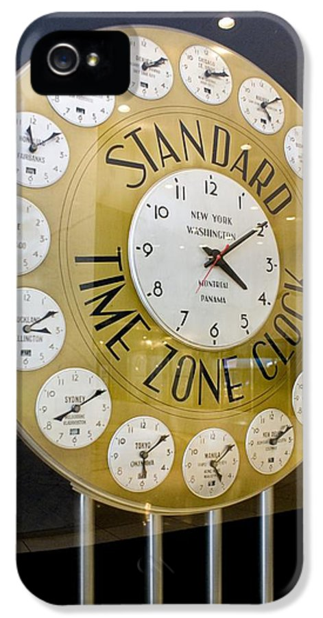 Business IPhone 5 Case featuring the photograph Standard Time Zone Clock. by Mark Williamson