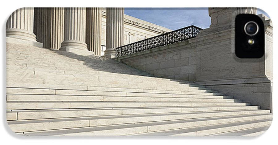American History IPhone 5 Case featuring the photograph Steps And Statue Of The Supreme Court Building by Roberto Westbrook